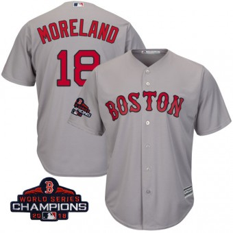Authentic Boston Red Sox Mitch Moreland Majestic Cool Base Road 2018 World Series Champions Jersey - Gray