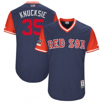 """Authentic Boston Red Sox Steven Wright Majestic """"KNUCKSIE"""" 2018 Players' Weekend Flex Base Jersey - Navy/Red"""
