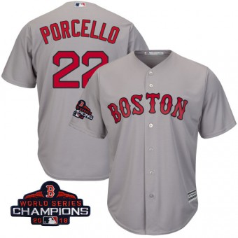 Youth Replica Boston Red Sox Rick Porcello Majestic Cool Base Road 2018 World Series Champions Jersey - Gray